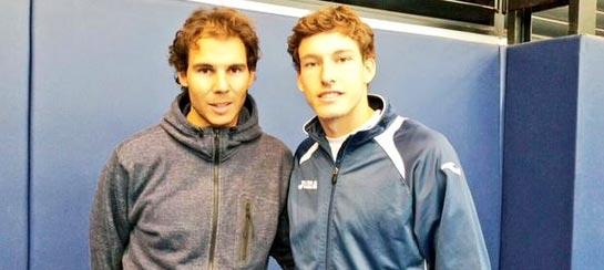 Rafa Nadal y Pablo Carreño entrenaron juntos en Manacor el pasado mes de Diciembre 2014