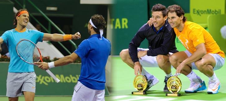 Rafa Nadal celebrando junto a Juan Mónaco en el ATP Doha 2015, su primer título de doblistas juntos