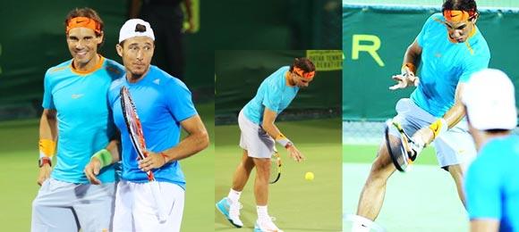 Rafa Nadal y Juan Mónaco disfrutando de la semifinal en Doha 2015