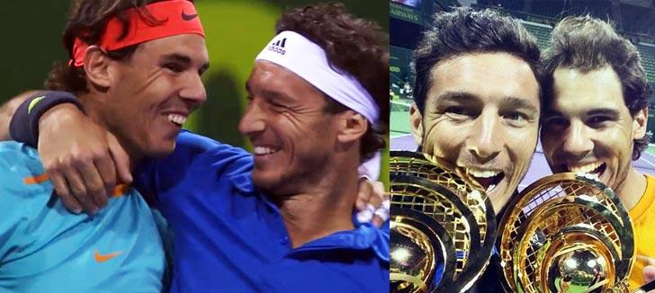 Rafa Nadal y Juan Mónaco festejando el titulo conseguido en el dobles de Doha 2015
