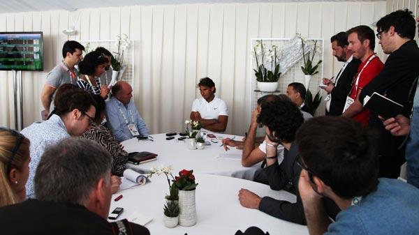 Instante de la rueda de prensa de Rafa Nadal en el Masters 1000 de Montecarlo 2015