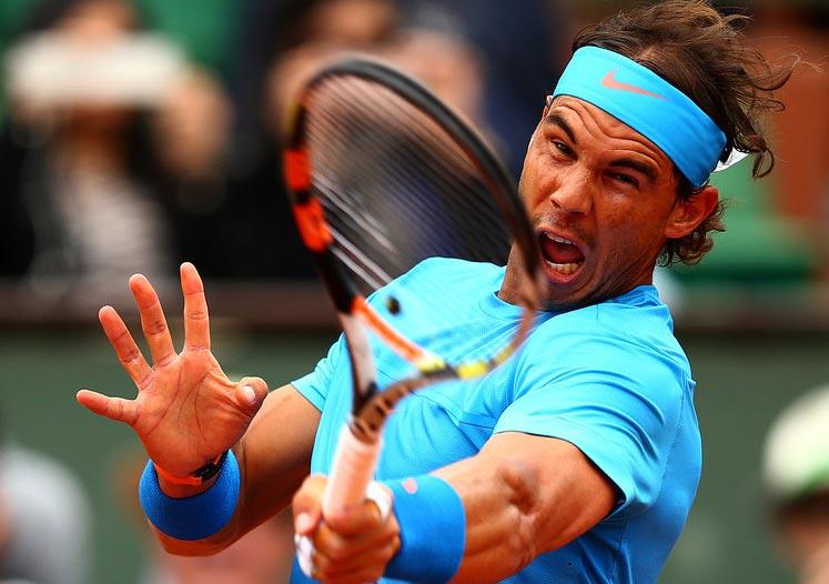 Rafael Nadal durante su partido contra Nicolás Almagro en la segunda ronda de Roland Garros 2015