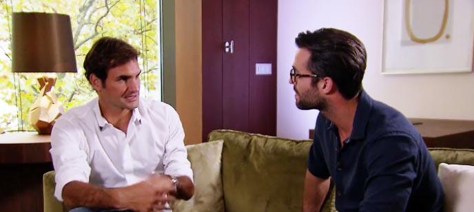 Roger Federer, en un momento de la entrevista por Jan Kooijman en RTL Late Night